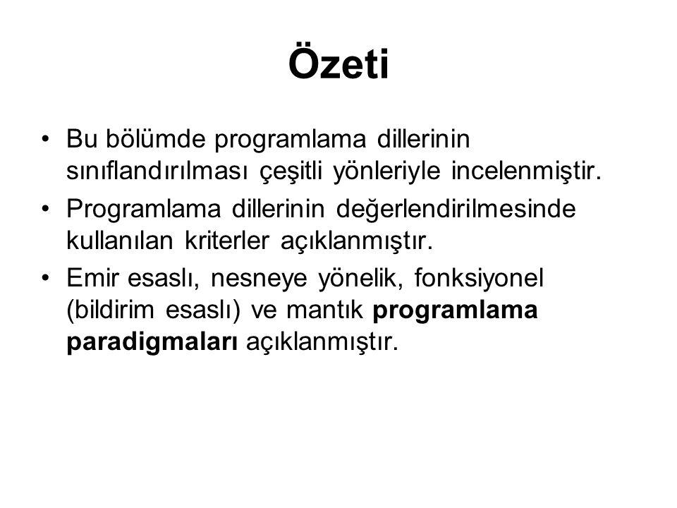 Özeti Bu bölümde programlama dillerinin sınıflandırılması çeşitli yönleriyle incelenmiştir.