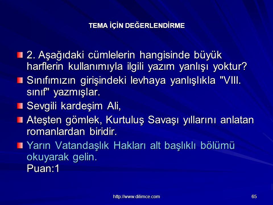 http://www.dilimce.com 65 TEMA İÇİN DEĞERLENDİRME 2.