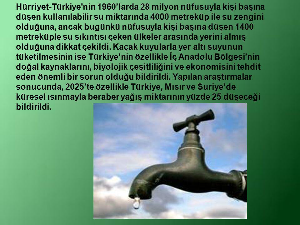 UNCEF 'in araştırmalarına göre Türkiye yıllık kişi başına 1642 metre küp kullanıla bilir su potansiyeli ile su sıkıntısı olan ülkeler kategorisinde yer alıyor.