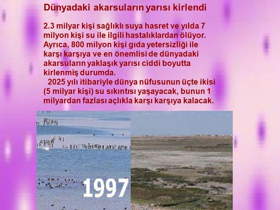 Hürriyet-Türkiye nin 1960'larda 28 milyon nüfusuyla kişi başına düşen kullanılabilir su miktarında 4000 metreküp ile su zengini olduğuna, ancak bugünkü nüfusuyla kişi başına düşen 1400 metreküple su sıkıntısı çeken ülkeler arasında yerini almış olduğuna dikkat çekildi.