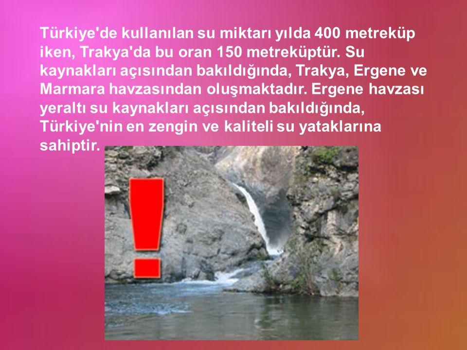 Türkiye de kullanılan su miktarı yılda 400 metreküp iken, Trakya da bu oran 150 metreküptür.