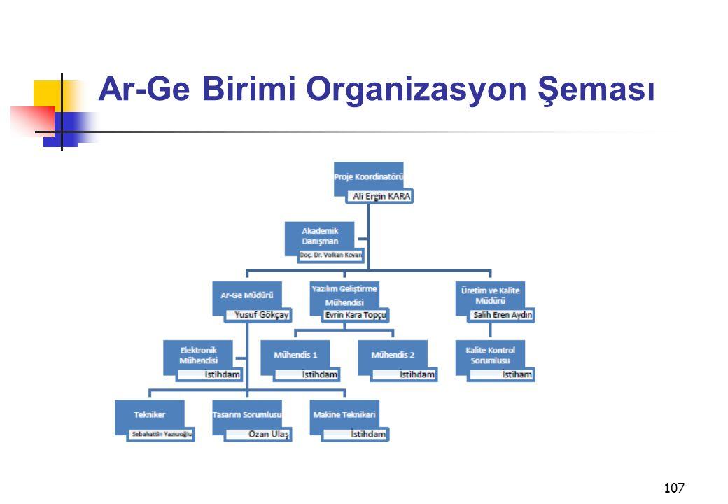 Ar-Ge Birimi Organizasyon Şeması 107
