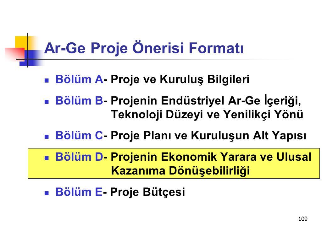 109 Ar-Ge Proje Önerisi Formatı Bölüm A- Proje ve Kuruluş Bilgileri Bölüm B- Projenin Endüstriyel Ar-Ge İçeriği, Teknoloji Düzeyi ve Yenilikçi Yönü Bö