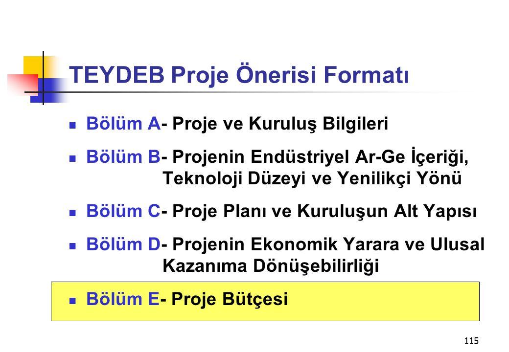 115 TEYDEB Proje Önerisi Formatı Bölüm A- Proje ve Kuruluş Bilgileri Bölüm B- Projenin Endüstriyel Ar-Ge İçeriği, Teknoloji Düzeyi ve Yenilikçi Yönü B