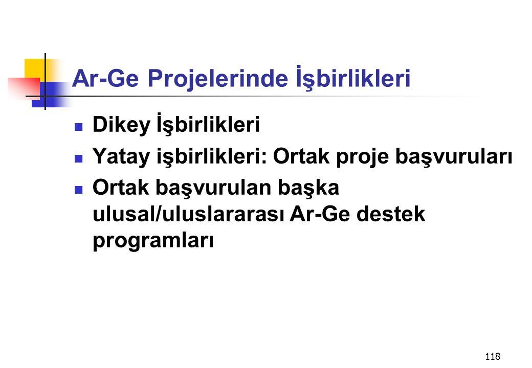 118 Ar-Ge Projelerinde İşbirlikleri Dikey İşbirlikleri Yatay işbirlikleri: Ortak proje başvuruları Ortak başvurulan başka ulusal/uluslararası Ar-Ge de