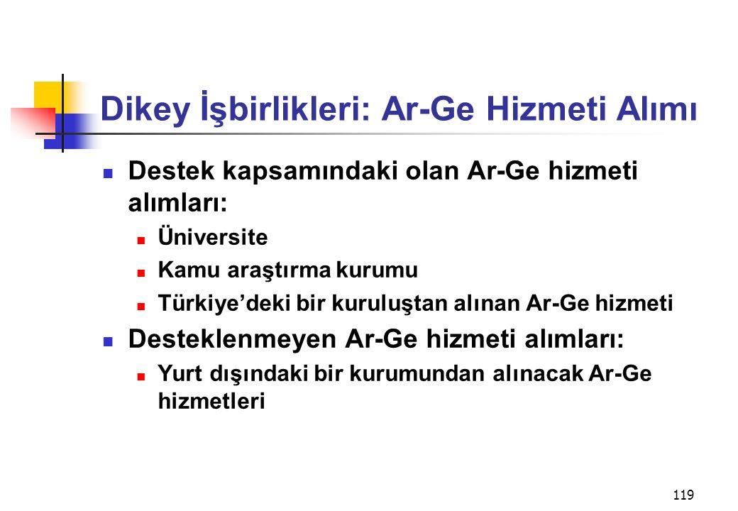 119 Dikey İşbirlikleri: Ar-Ge Hizmeti Alımı Destek kapsamındaki olan Ar-Ge hizmeti alımları: Üniversite Kamu araştırma kurumu Türkiye'deki bir kuruluştan alınan Ar-Ge hizmeti Desteklenmeyen Ar-Ge hizmeti alımları: Yurt dışındaki bir kurumundan alınacak Ar-Ge hizmetleri