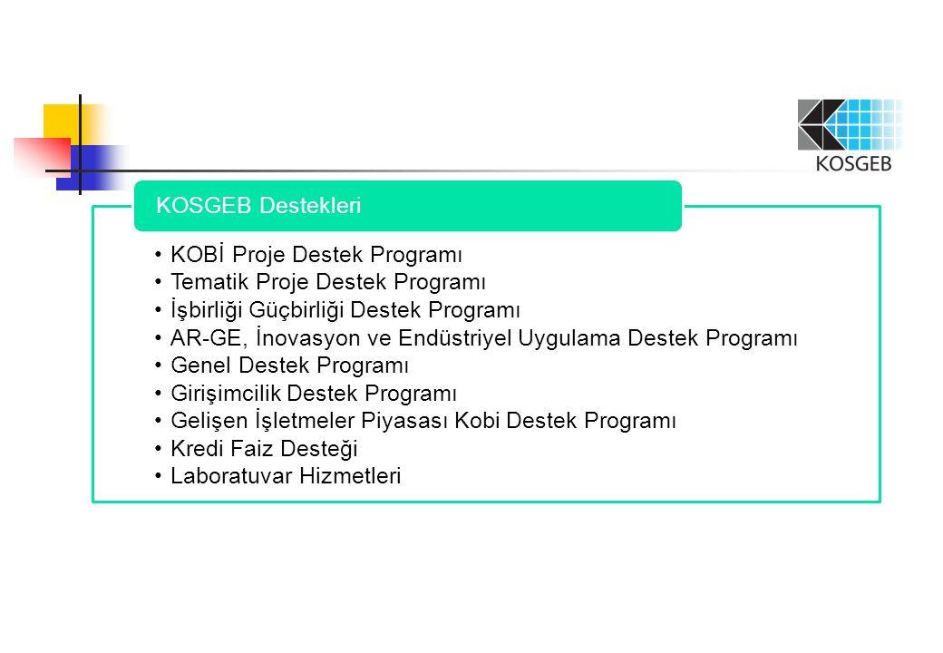 KOBİ Proje Destek Programı Tematik Proje Destek Programı İşbirliği Güçbirliği Destek Programı AR-GE, İnovasyon ve Endüstriyel Uygulama Destek Programı Genel Destek Programı Girişimcilik Destek Programı Gelişen İşletmeler Piyasası Kobi Destek Programı Kredi Faiz Desteği Laboratuvar Hizmetleri KOSGEB Destekleri