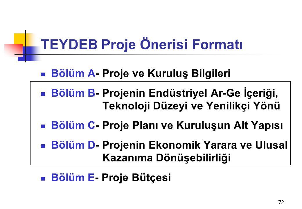 72 TEYDEB Proje Önerisi Formatı Bölüm A- Proje ve Kuruluş Bilgileri Bölüm B- Projenin Endüstriyel Ar-Ge İçeriği, Teknoloji Düzeyi ve Yenilikçi Yönü Bölüm C- Proje Planı ve Kuruluşun Alt Yapısı Bölüm D- Projenin Ekonomik Yarara ve Ulusal Kazanıma Dönüşebilirliği Bölüm E- Proje Bütçesi