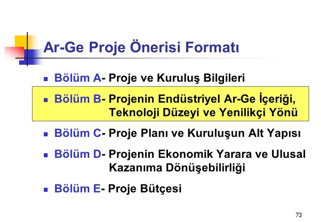 73 Ar-Ge Proje Önerisi Formatı Bölüm A- Proje ve Kuruluş Bilgileri Bölüm B- Projenin Endüstriyel Ar-Ge İçeriği, Teknoloji Düzeyi ve Yenilikçi Yönü Böl