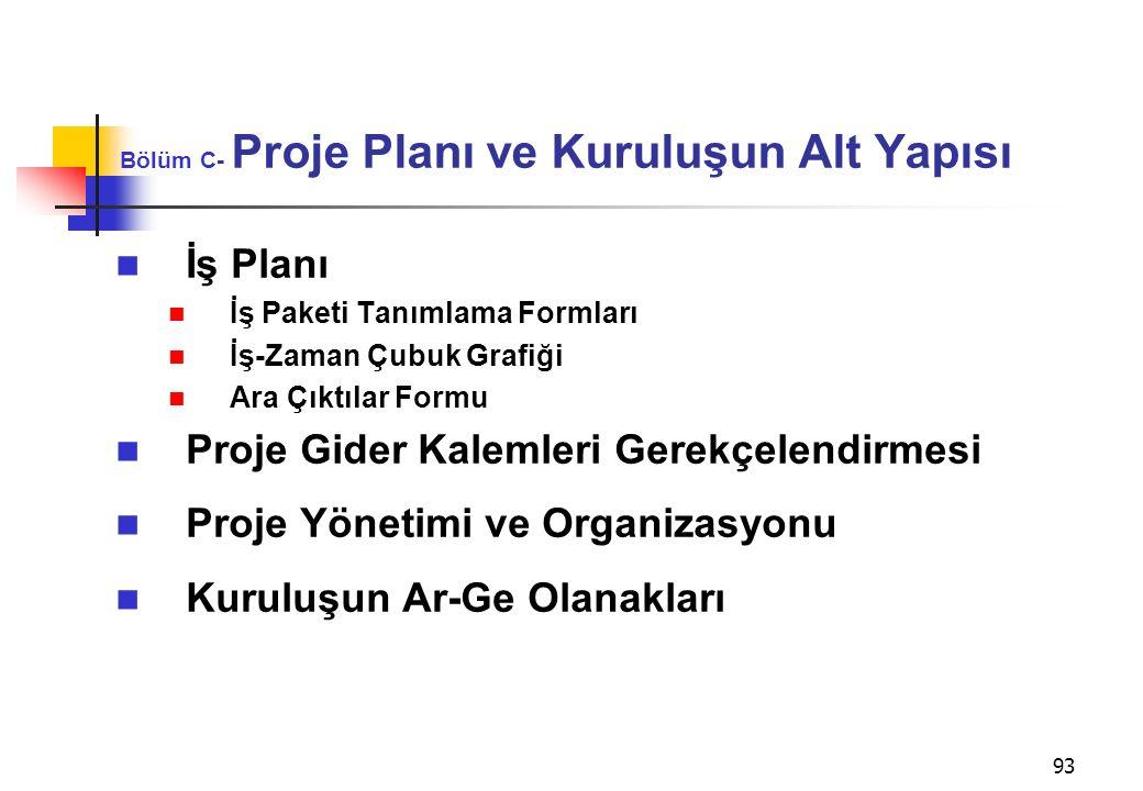 93 Bölüm C- Proje Planı ve Kuruluşun Alt Yapısı İş Planı İş Paketi Tanımlama Formları İş-Zaman Çubuk Grafiği Ara Çıktılar Formu Proje Gider Kalemleri Gerekçelendirmesi Proje Yönetimi ve Organizasyonu Kuruluşun Ar-Ge Olanakları