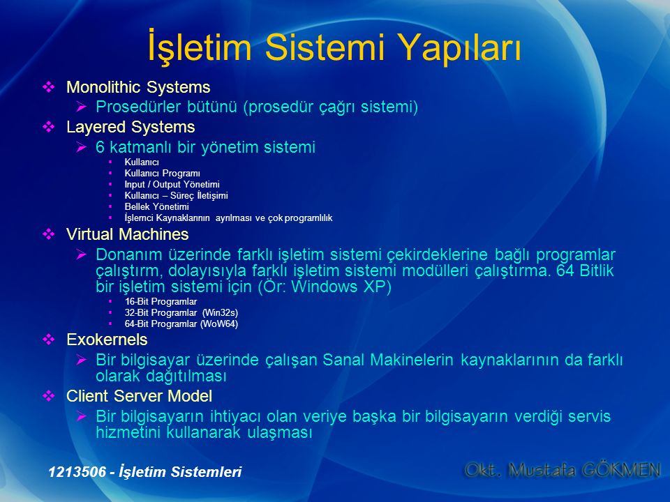 1213506 - İşletim Sistemleri İşletim Sistemi Yapıları  Monolithic Systems  Prosedürler bütünü (prosedür çağrı sistemi)  Layered Systems  6 katmanl