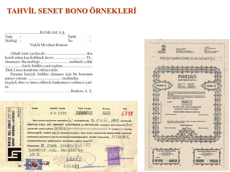 TAHVİL SENET BONO ÖRNEKLERİ