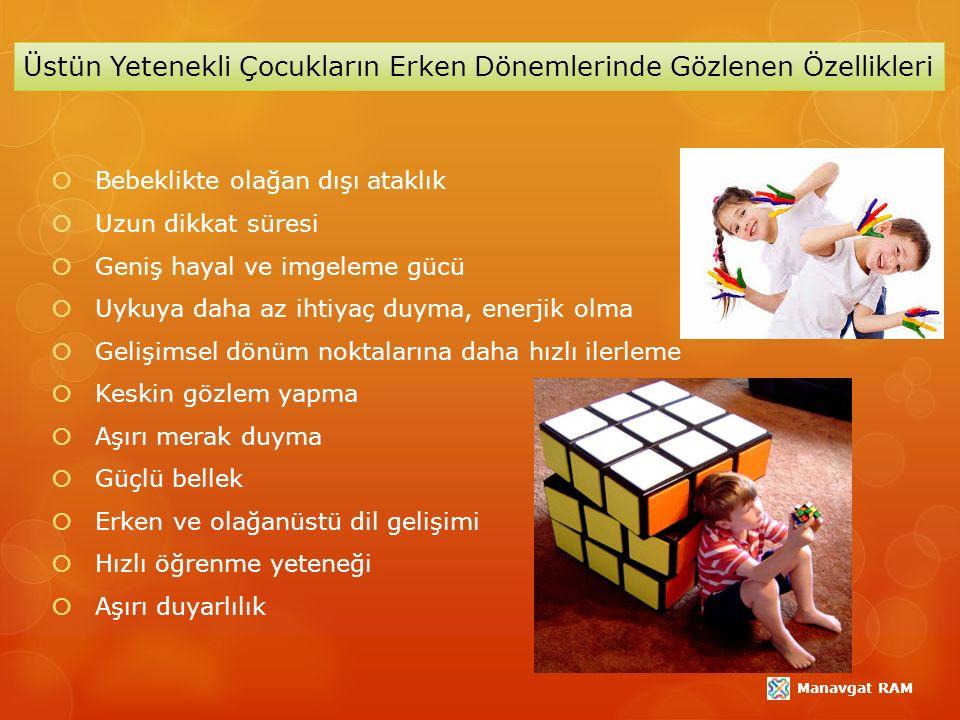  Akıl yürütme ve problem çözme becerisi  Mükemmeliyetçilik  Sayılar, bulmacalar ve yap-bozlar ile oyun becerisini geliştirme  Kitaplara aşırı ilgi duyma  Soru sorma  İlgi alanının oldukça geniş olması  Gelişmiş mizah duygusu  Eleştirel düşünebilme  İcatlar yapabilme  Aynı anda birkaç işi yapabilme, yoğunlaşabilme  Yaratıcılık (Jackson & Klein, 1997; Davis & Rimm, 1998).