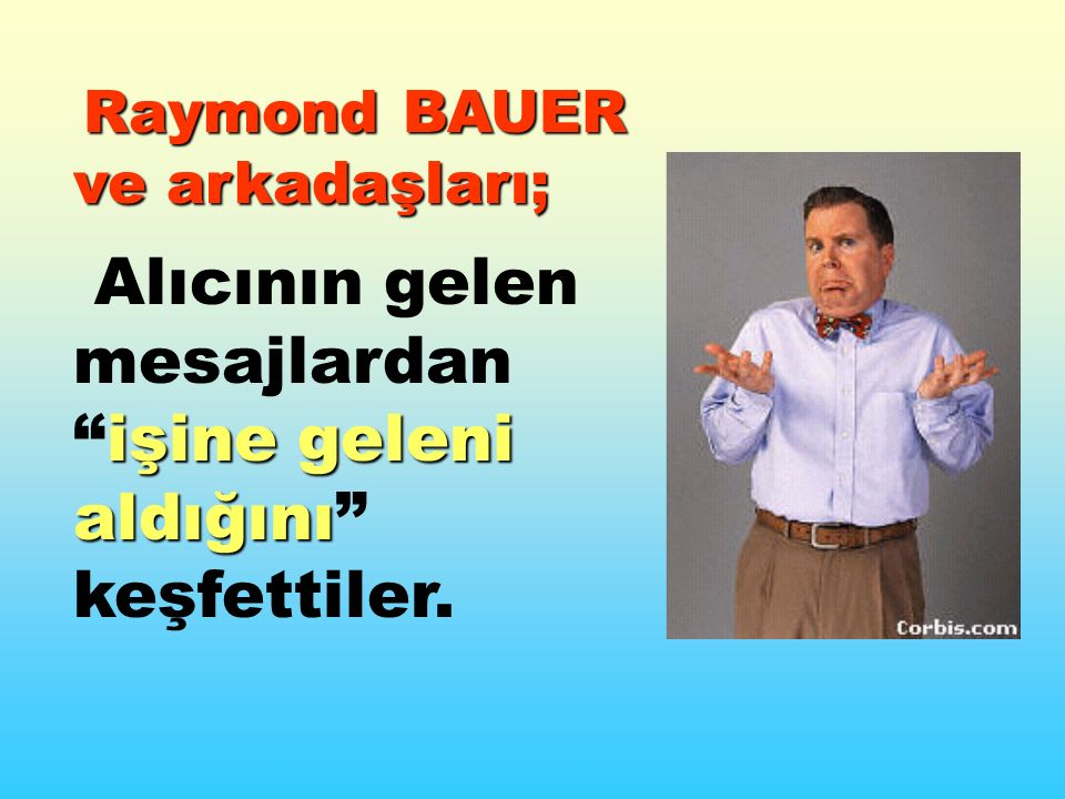 Raymond BAUER ve arkadaşları; işine geleni aldığını Alıcının gelen mesajlardan işine geleni aldığını keşfettiler.