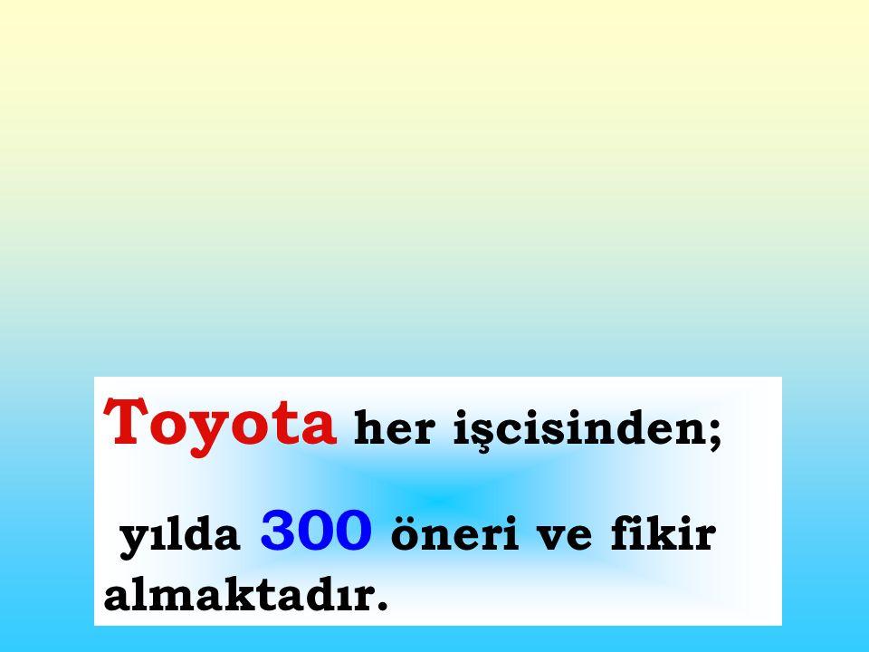 Toyota her işcisinden; yılda 300 öneri ve fikir almaktadır.