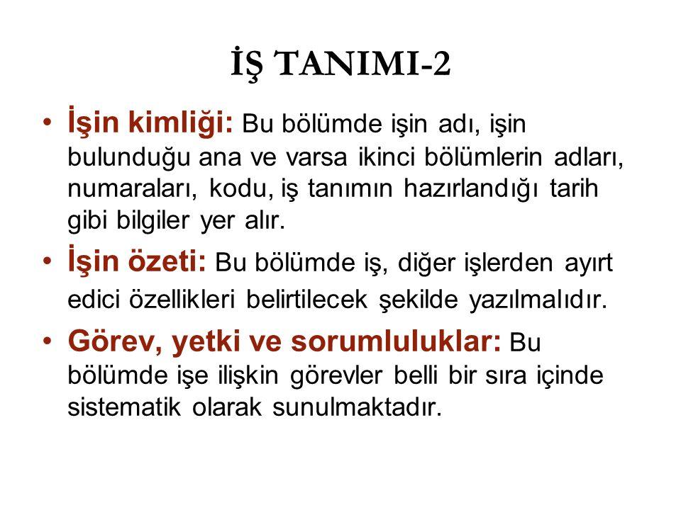 İŞ TANIMI-2 İşin kimliği: Bu bölümde işin adı, işin bulunduğu ana ve varsa ikinci bölümlerin adları, numaraları, kodu, iş tanımın hazırlandığı tarih g