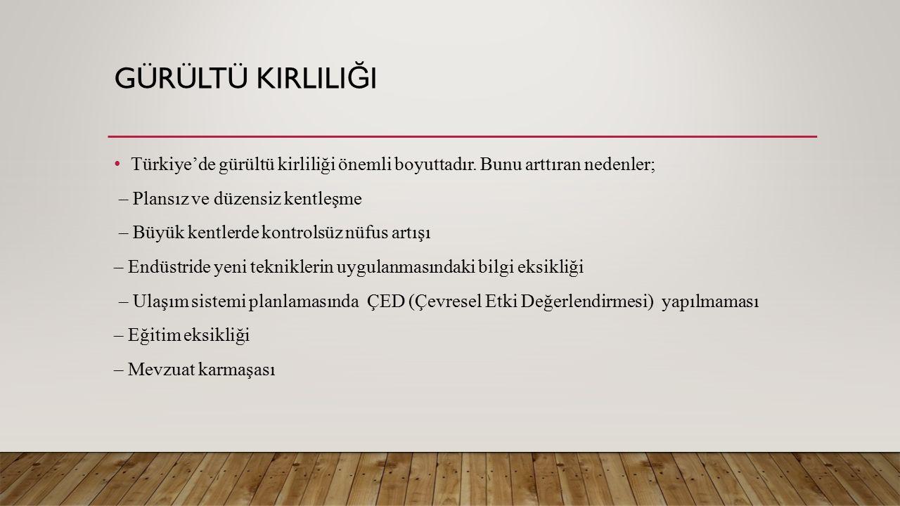 Türkiye'de gürültü kirliliği önemli boyuttadır.