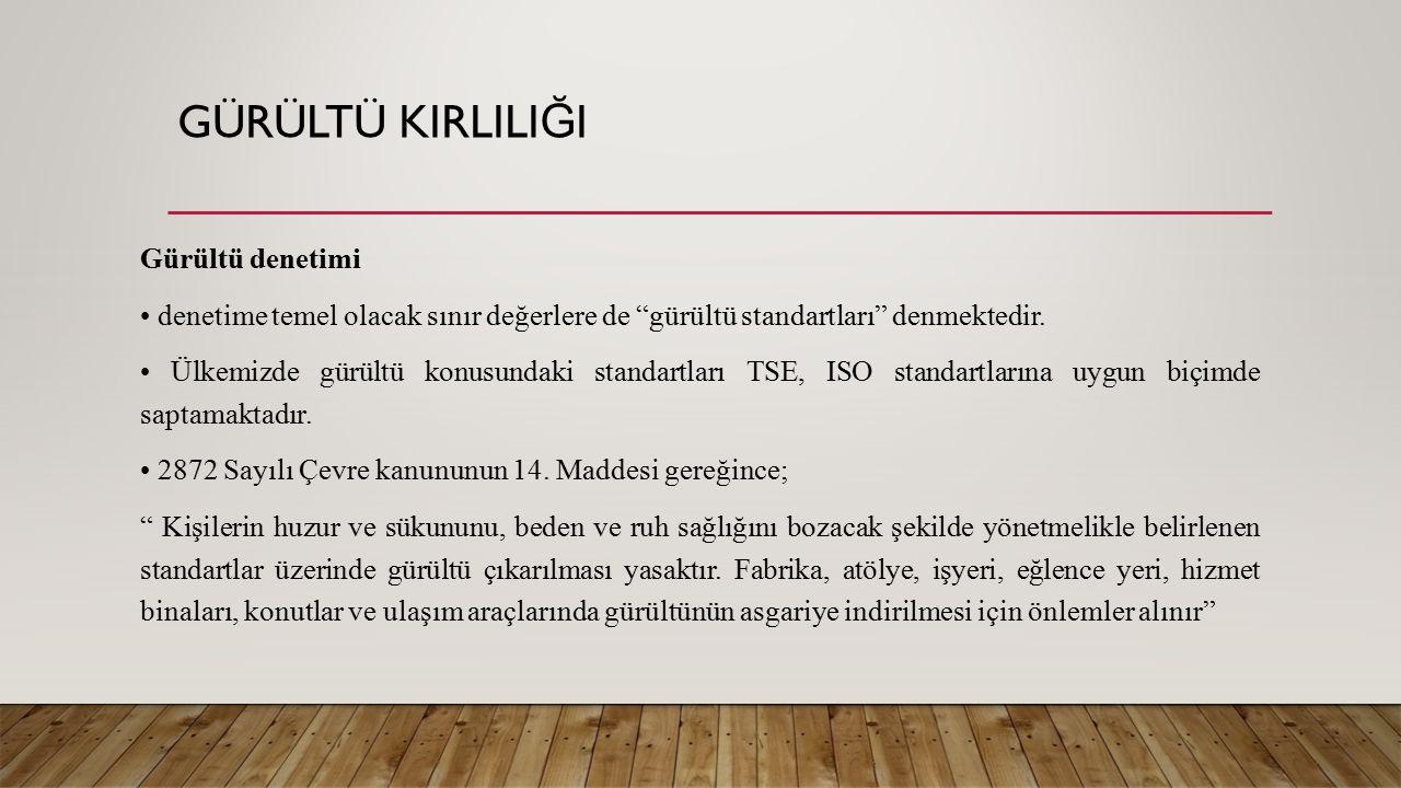 GÜRÜLTÜ KIRLILI Ğ I Gürültü denetimi denetime temel olacak sınır değerlere de gürültü standartları denmektedir.