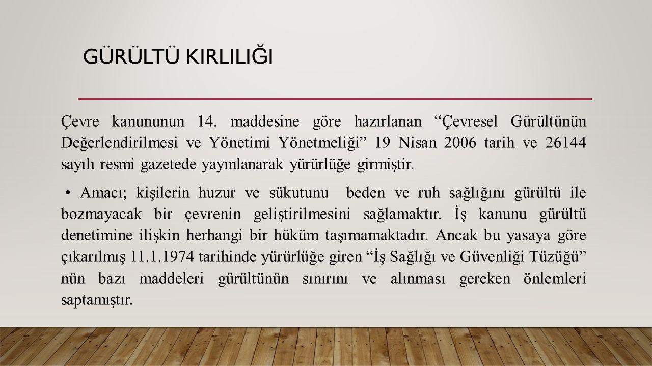 GÜRÜLTÜ KIRLILI Ğ I Çevre kanununun 14.
