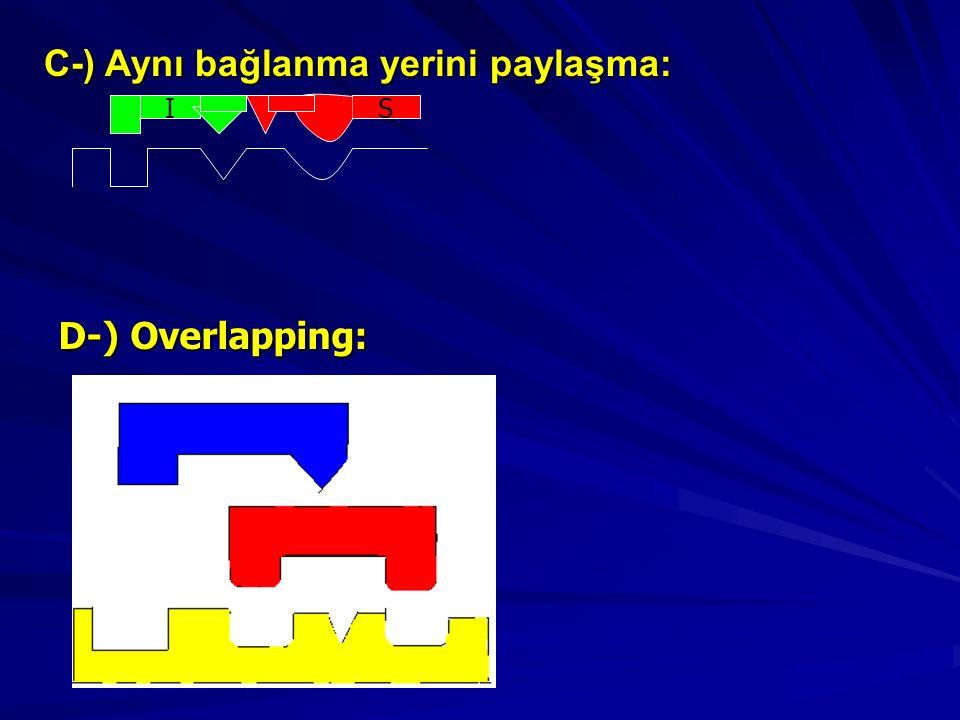 IS D-) Overlapping: D-) Overlapping: C-) Aynı bağlanma yerini paylaşma: