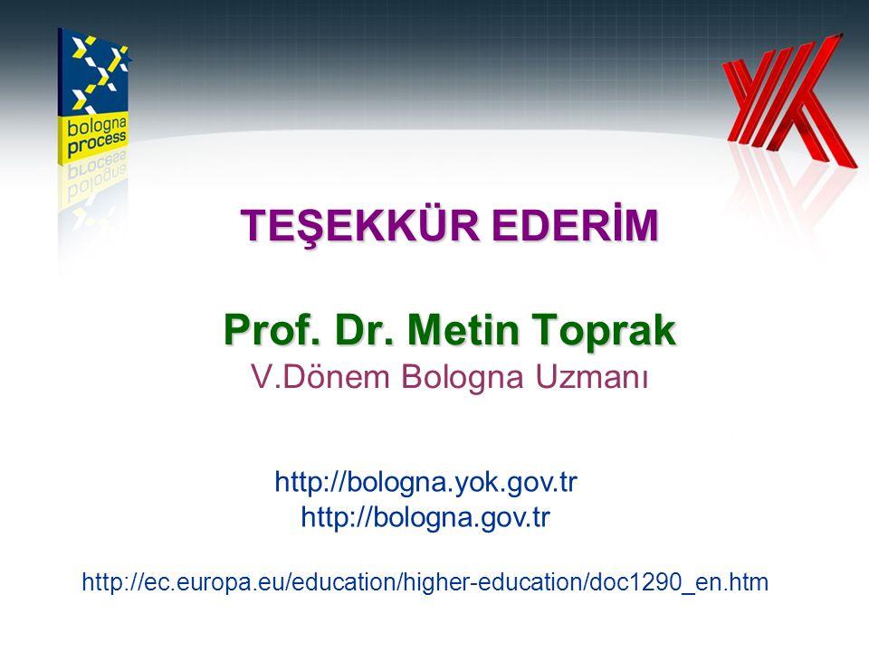 TEŞEKKÜR EDERİM Prof. Dr. Metin Toprak TEŞEKKÜR EDERİM Prof.