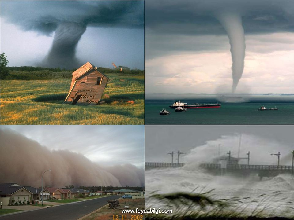 Şiddetli Rüzgarlar ve Fırtınalar: Bu doğa olayları değişik bölgelerde kasırga, hortum ve tayfun gibi isimler ile anılmaktadır. Büyük fırtınaların asıl