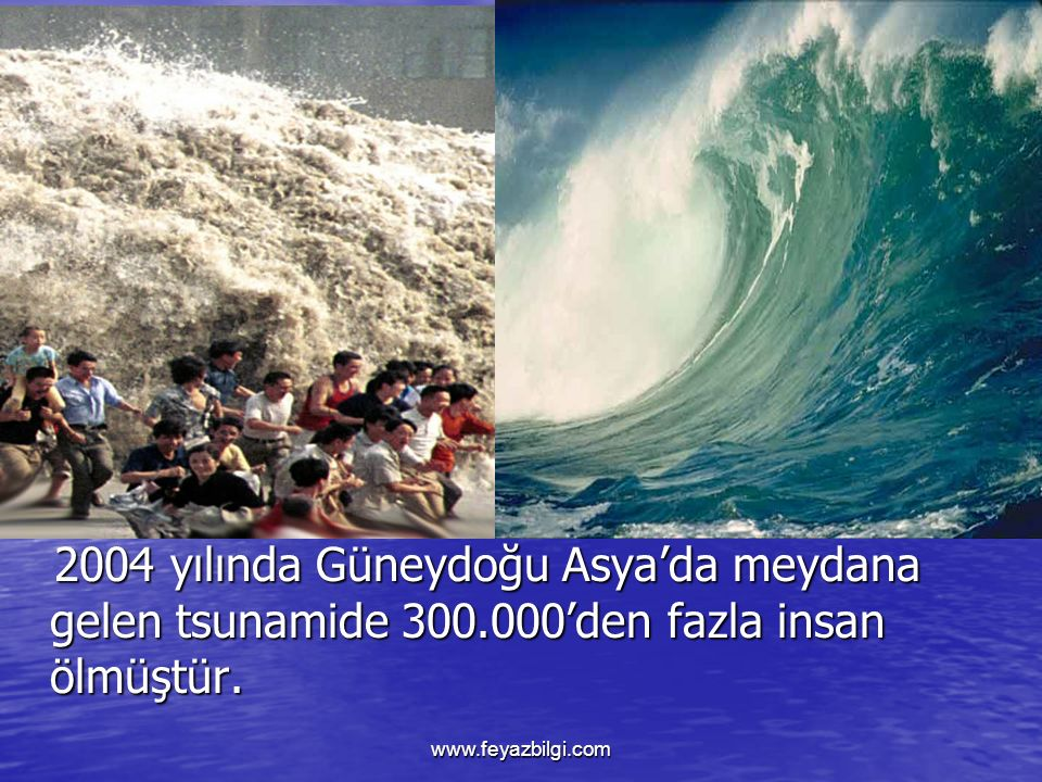 2004 yılında Güneydoğu Asya'da meydana gelen tsunamide 300.000'den fazla insan ölmüştür.