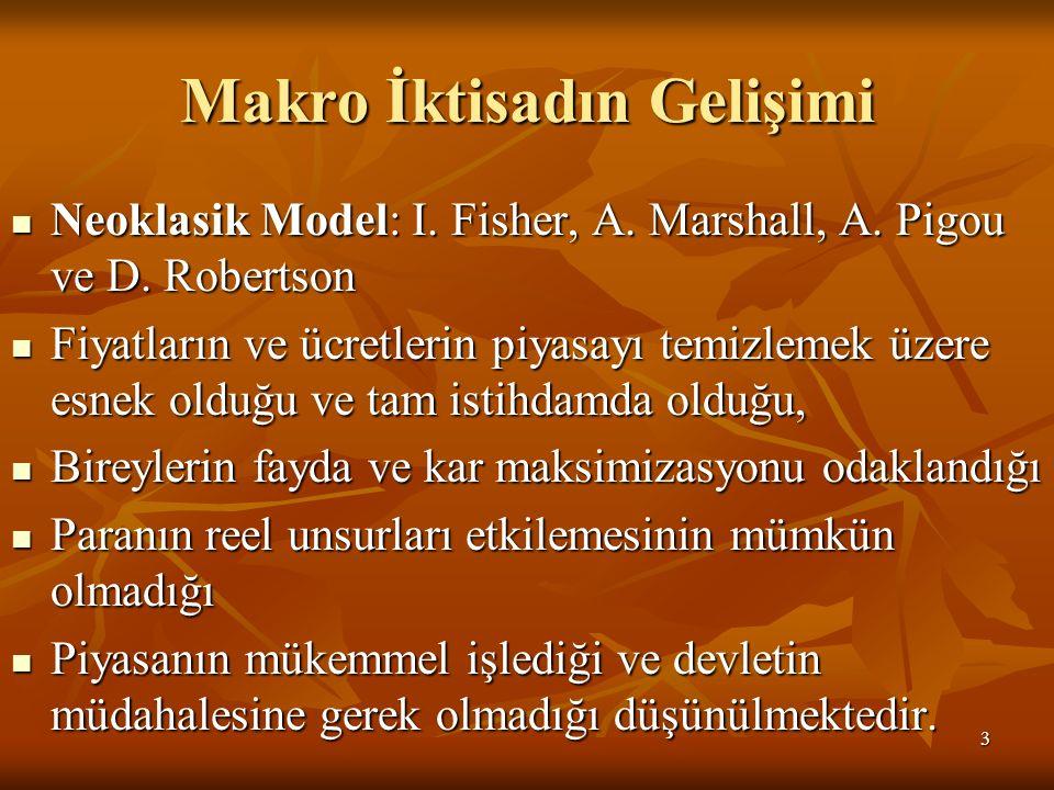 Makro İktisadın Gelişimi Neoklasik Model: I. Fisher, A. Marshall, A. Pigou ve D. Robertson Neoklasik Model: I. Fisher, A. Marshall, A. Pigou ve D. Rob