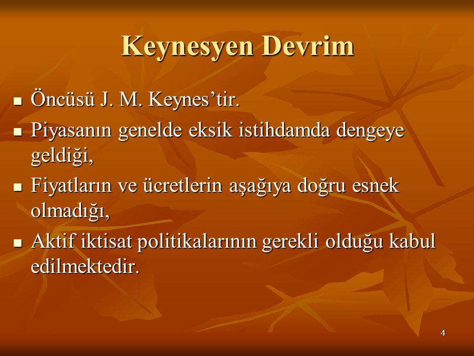 Keynesyen Devrim Öncüsü J. M. Keynes'tir. Öncüsü J. M. Keynes'tir. Piyasanın genelde eksik istihdamda dengeye geldiği, Piyasanın genelde eksik istihda