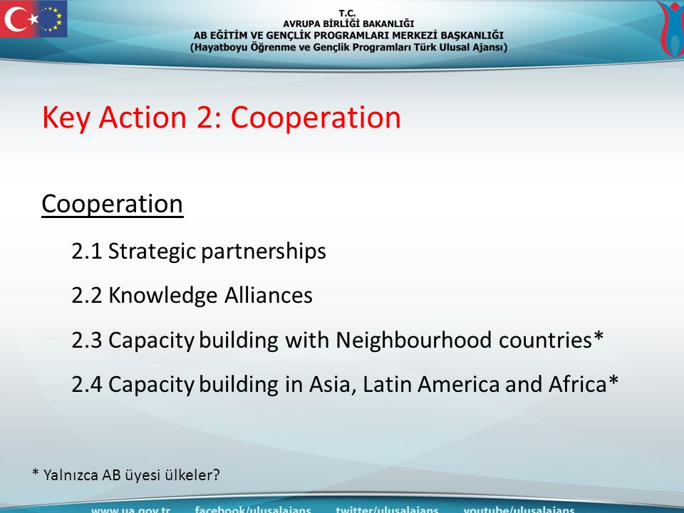Key Action 2: Cooperation Cooperation 2.1 Strategic partnerships 2.2 Knowledge Alliances 2.3 Capacity building with Neighbourhood countries* 2.4 Capacity building in Asia, Latin America and Africa* * Yalnızca AB üyesi ülkeler