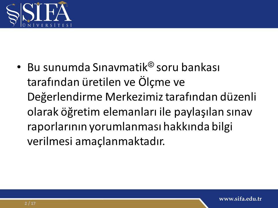 ÖĞRENCİ MADDE ANALİZİ / 1713