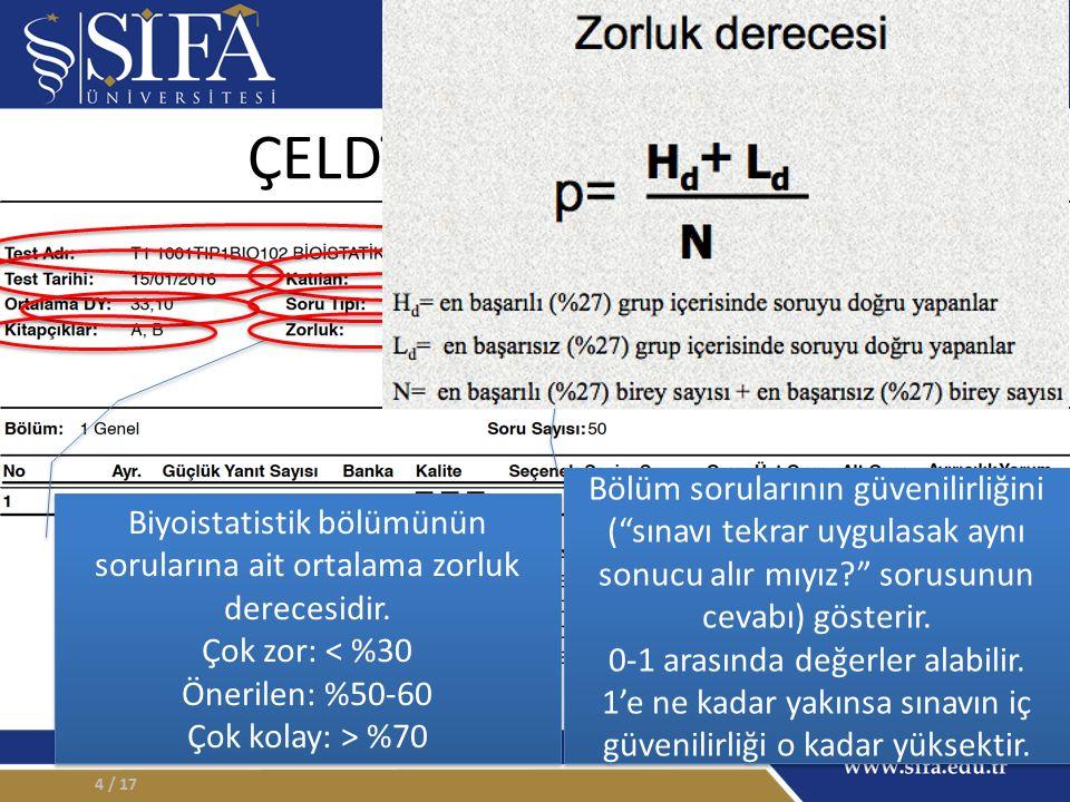 ÇELDİRİCİ ANALİZLERİ / 175 Bu maddeye ait ayırt edicilik derecesi < 0,15: Kullanılmamalı 0,15-0,24 : Düzeltilmeli 0,25-0,34 : İyi > 0,35 : Mükemmel Bu maddeye ait ayırt edicilik derecesi < 0,15: Kullanılmamalı 0,15-0,24 : Düzeltilmeli 0,25-0,34 : İyi > 0,35 : Mükemmel