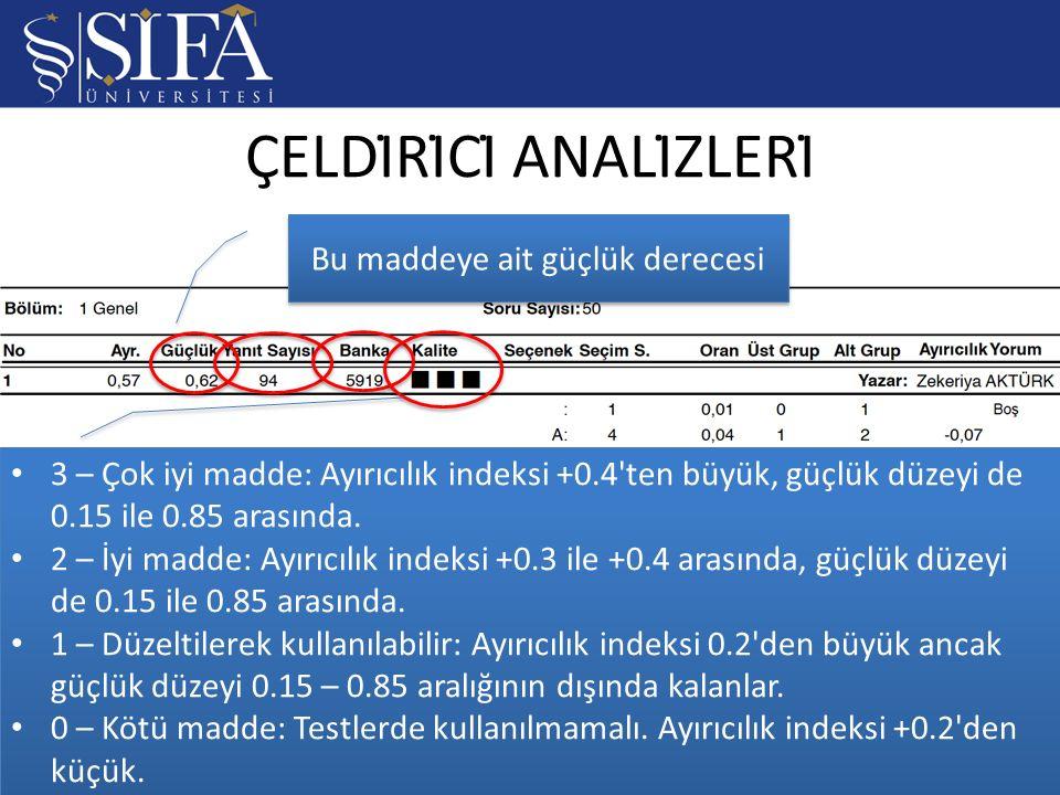 ÇELDİRİCİ ANALİZLERİ / 177