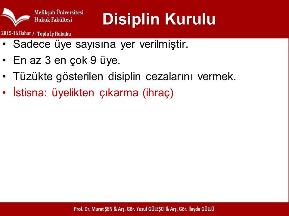 Disiplin Kurulu Sadece üye sayısına yer verilmiştir.