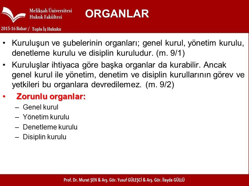 ORGANLAR Kuruluşun ve şubelerinin organları; genel kurul, yönetim kurulu, denetleme kurulu ve disiplin kuruludur.
