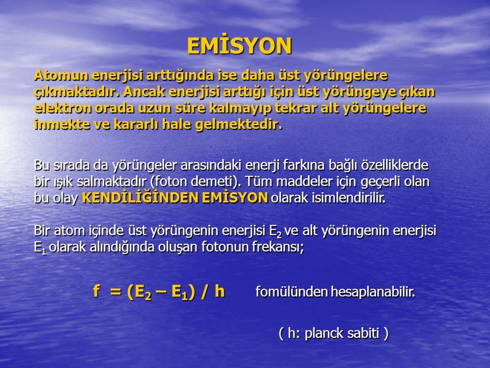 EMİSYON Atomun enerjisi arttığında ise daha üst yörüngelere çıkmaktadır.