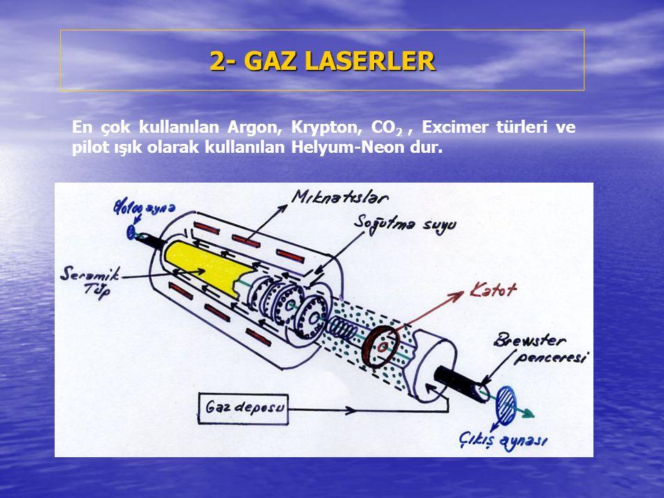 2- GAZ LASERLER En çok kullanılan Argon, Krypton, CO 2, Excimer türleri ve pilot ışık olarak kullanılan Helyum-Neon dur.