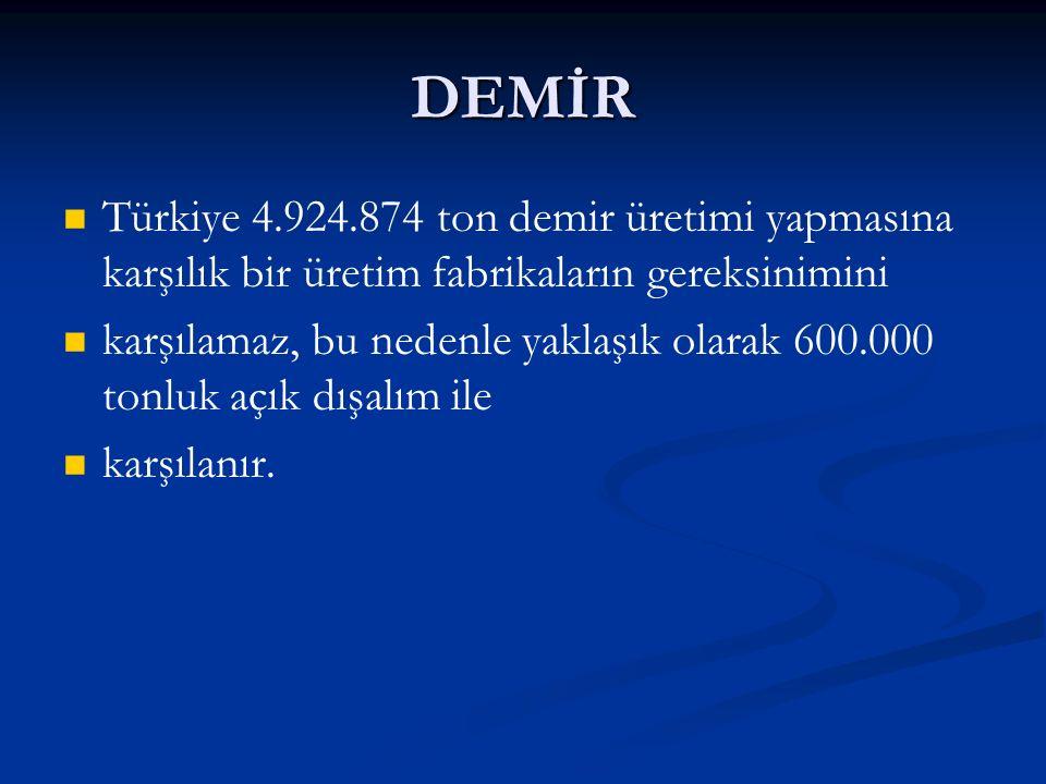 DEMİR Türkiye 4.924.874 ton demir üretimi yapmasına karşılık bir üretim fabrikaların gereksinimini karşılamaz, bu nedenle yaklaşık olarak 600.000 tonluk açık dışalım ile karşılanır.