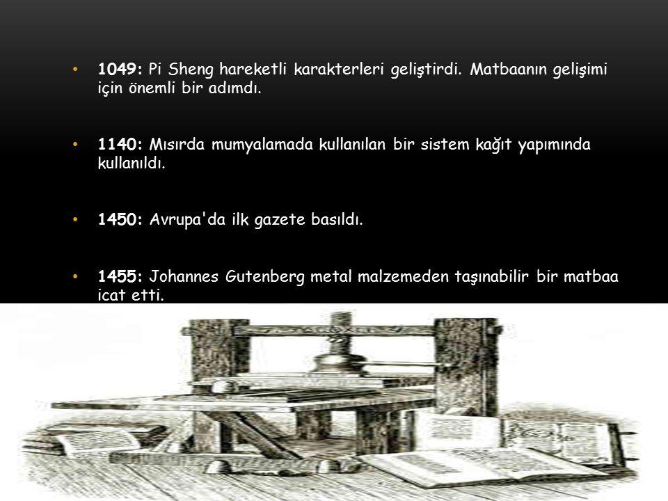 1049: Pi Sheng hareketli karakterleri geliştirdi. Matbaanın gelişimi için önemli bir adımdı.