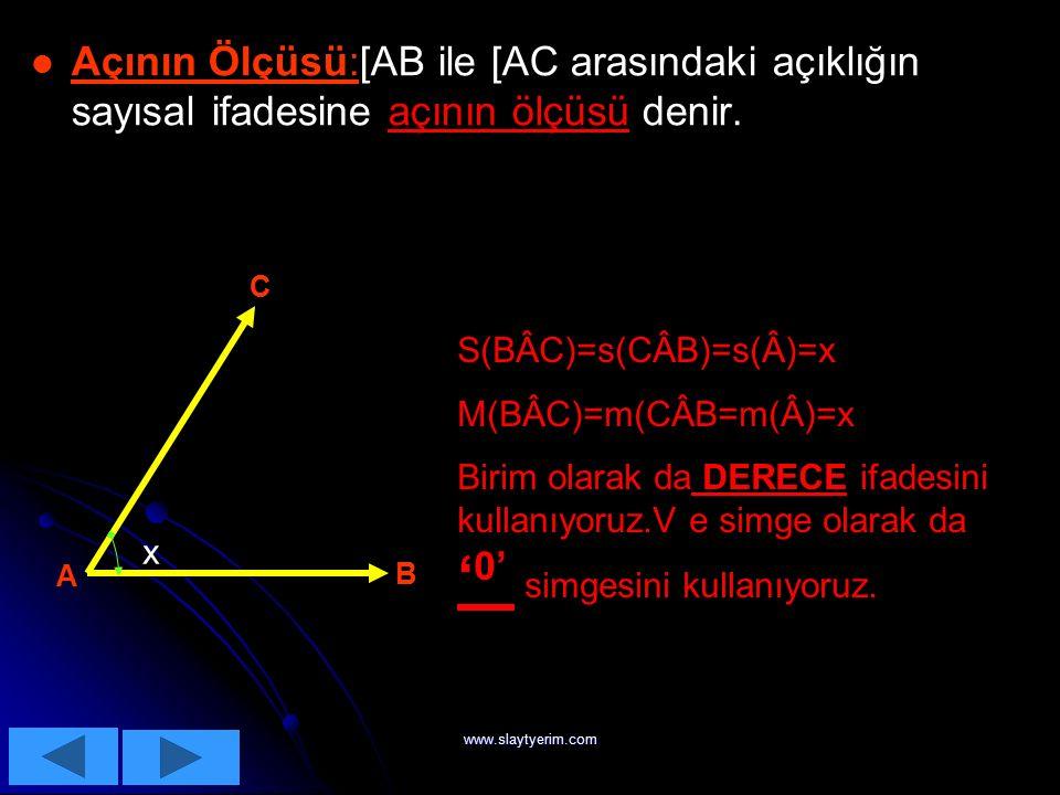 www.slaytyerim.com BBBB )))) AAAA ÇÇÇÇ IIII LLLL AAAA RRRR AAAA ÇÇÇÇ IIII ::::Başlangıç noktaları aynı olan iki ışının birleşimine açı denir. C AB a ]