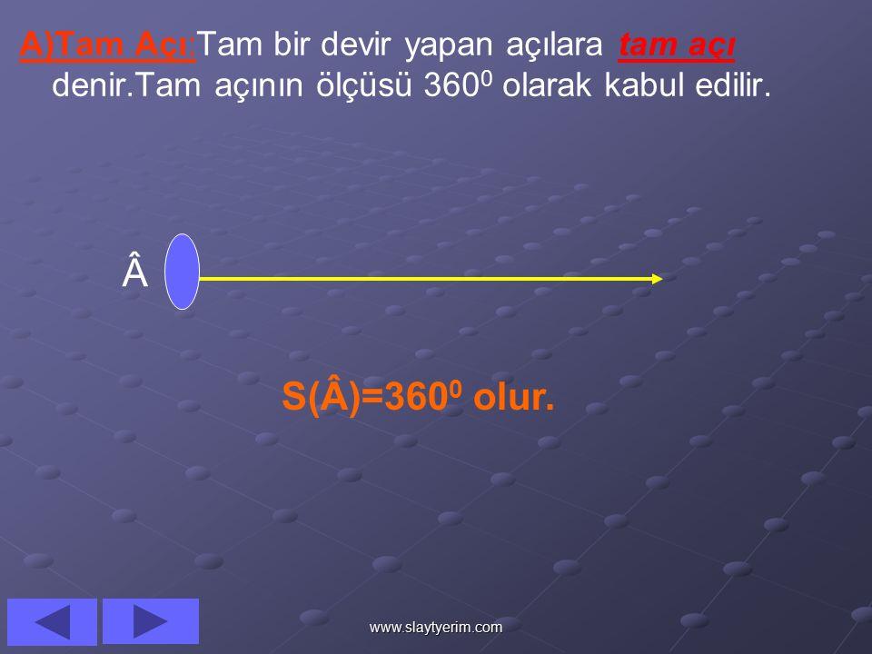 www.slaytyerim.com C)AÇI ÇEŞİTLERİ