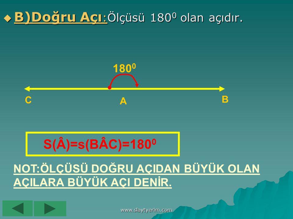 www.slaytyerim.com A)Tam Açı:Tam bir devir yapan açılara tam açı denir.Tam açının ölçüsü 360 0 olarak kabul edilir. Â S(Â)=360 0 olur.