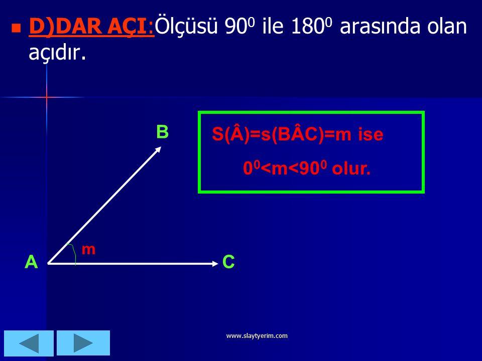 www.slaytyerim.com C)İK AÇI C)DİK AÇI:Ölçüsü 90 0 olan açılara denir. C)İK AÇI C)DİK AÇI:. B A C S(BÂC)=s(Â)=90 0