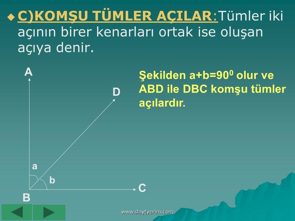 www.slaytyerim.com B)TÜMLER AÇILAR:Ölçüleri toplamı 90 0 olan iki açıya denir. B)TÜMLER AÇILAR: B A C D E F S(BÂC)+s(DÊF)=90 0 Â,Ê'nin ve Ê,Â'nın tüml