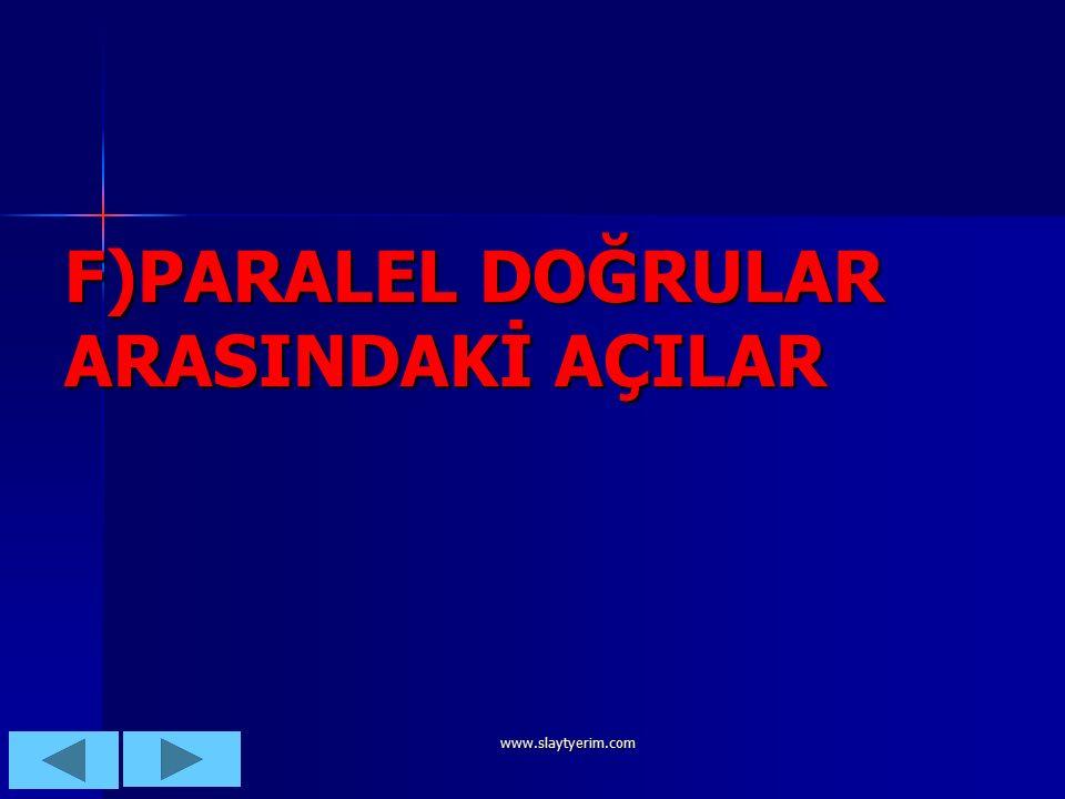 www.slaytyerim.com AÇI ORTAY:Bir açıyı eş iki açıya ayıran ışın,doğru veya doğru parçasıdır.
