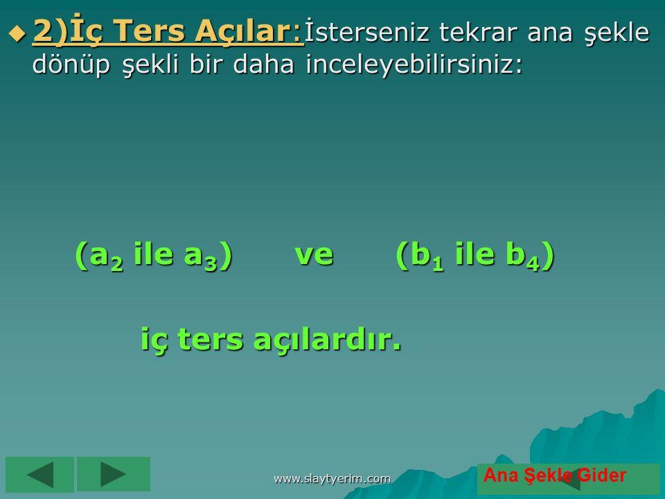 www.slaytyerim.com 1 1 )))) YYYY öööö nnnn dddd eeee şşşş A A A A çççç ıııı llll aaaa rrrr ::::İsterseniz tekrar şekle bakın ve takip edin: (a1 ile a2), (a3 ile a4), (b1 ile b2), (b3 ile 4) yöndeş açılardır.