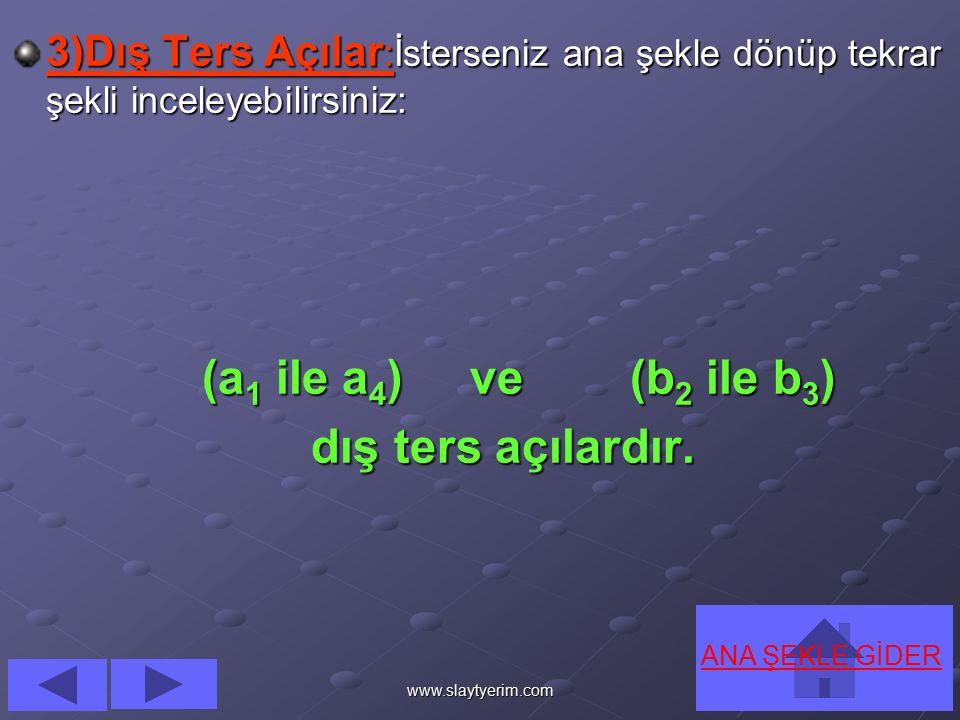 www.slaytyerim.com 2222 )))) İİİİ çççç T T T T eeee rrrr ssss A A A A çççç ıııı llll aaaa rrrr ::::İsterseniz tekrar ana şekle dönüp şekli bir daha inceleyebilirsiniz: (a2 ile a3) ve (b1 ile b4) iç ters açılardır.