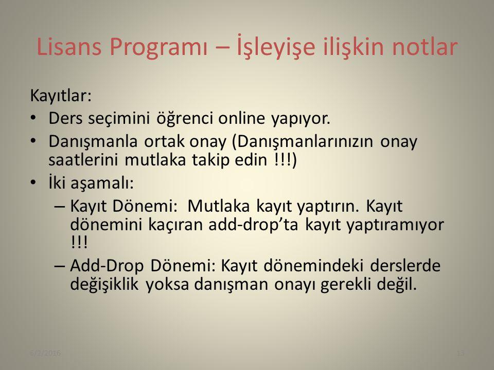 Lisans Programı – İşleyişe ilişkin notlar Kayıtlar: Ders seçimini öğrenci online yapıyor.