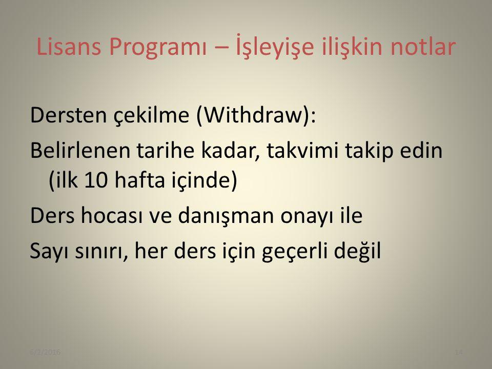 Lisans Programı – İşleyişe ilişkin notlar Dersten çekilme (Withdraw): Belirlenen tarihe kadar, takvimi takip edin (ilk 10 hafta içinde) Ders hocası ve danışman onayı ile Sayı sınırı, her ders için geçerli değil 6/2/201614