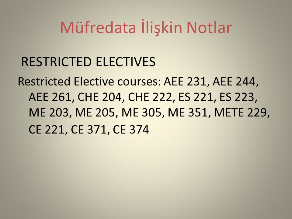 Müfredata İlişkin Notlar RESTRICTED ELECTIVES Restricted Elective courses: AEE 231, AEE 244, AEE 261, CHE 204, CHE 222, ES 221, ES 223, ME 203, ME 205, ME 305, ME 351, METE 229, CE 221, CE 371, CE 374 6/2/20167